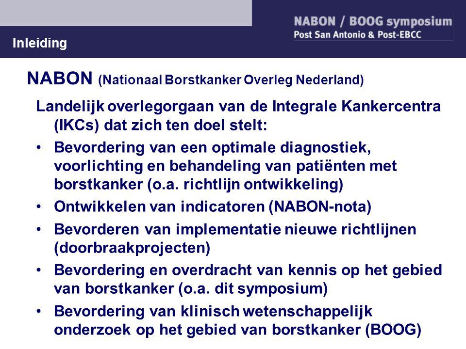 Inleiding NABON (Nationaal Borstkanker Overleg Nederland) Landelijk overlegorgaan van de Integrale Kankercentra (IKCs) dat zich ten doel stelt: Bevord