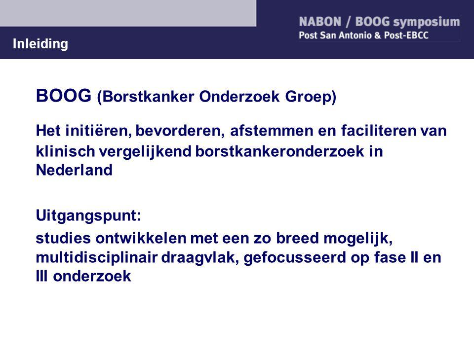 Inleiding BOOG (Borstkanker Onderzoek Groep) Het initiëren, bevorderen, afstemmen en faciliteren van klinisch vergelijkend borstkankeronderzoek in Ned