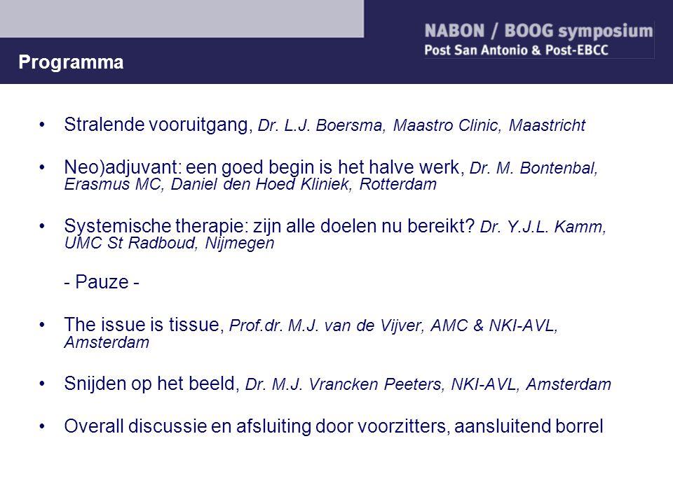 Programma Stralende vooruitgang, Dr. L.J. Boersma, Maastro Clinic, Maastricht Neo)adjuvant: een goed begin is het halve werk, Dr. M. Bontenbal, Erasmu