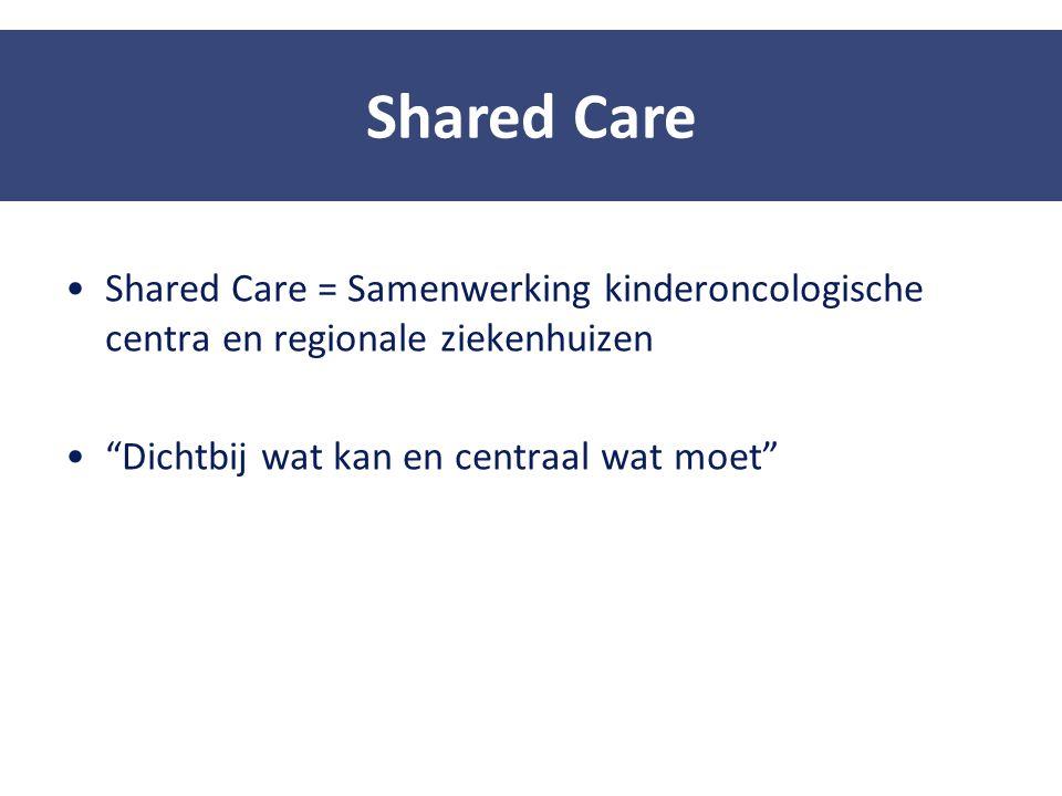"""Shared Care = Samenwerking kinderoncologische centra en regionale ziekenhuizen """"Dichtbij wat kan en centraal wat moet"""" Shared Care"""