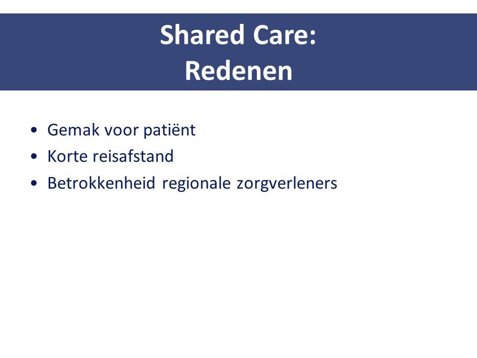 Gemak voor patiënt Korte reisafstand Betrokkenheid regionale zorgverleners Shared Care: Redenen