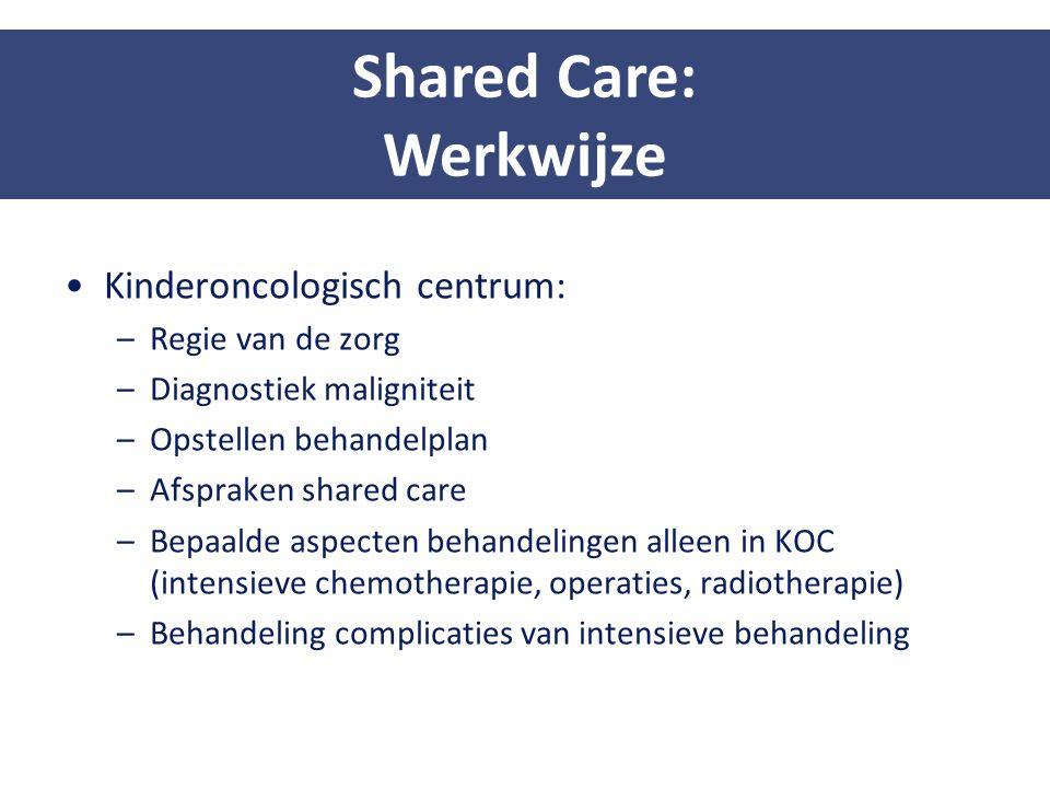 Kinderoncologisch centrum: –Regie van de zorg –Diagnostiek maligniteit –Opstellen behandelplan –Afspraken shared care –Bepaalde aspecten behandelingen