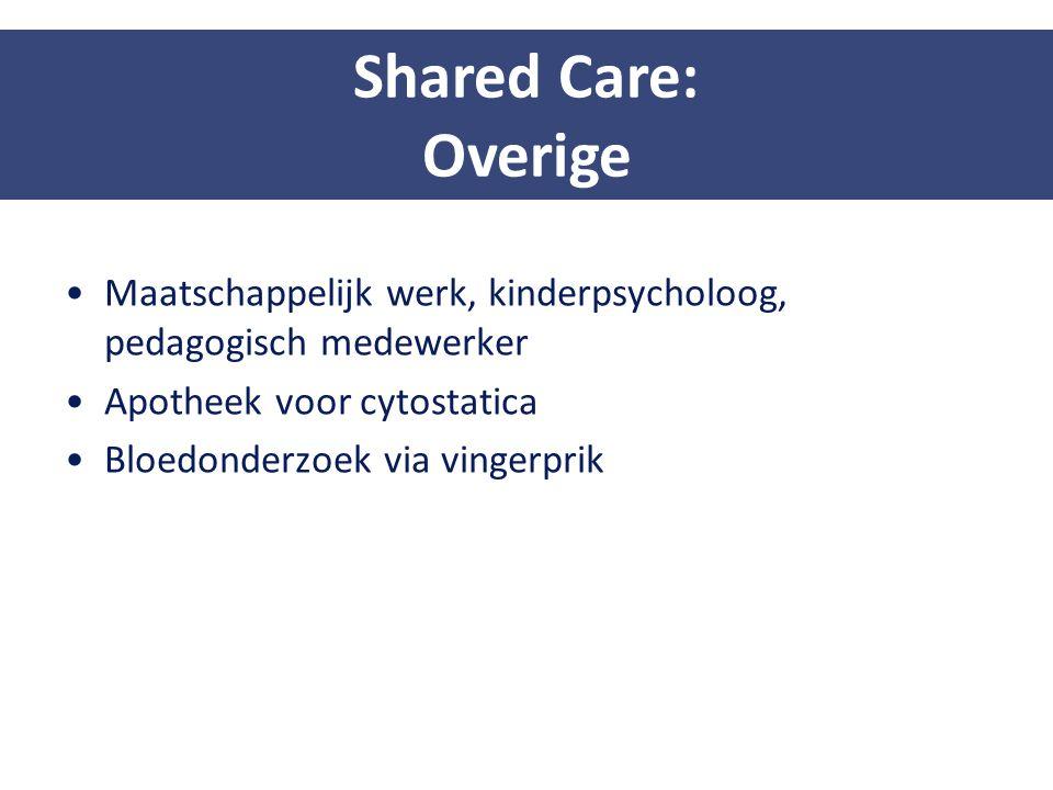 Maatschappelijk werk, kinderpsycholoog, pedagogisch medewerker Apotheek voor cytostatica Bloedonderzoek via vingerprik Shared Care: Overige