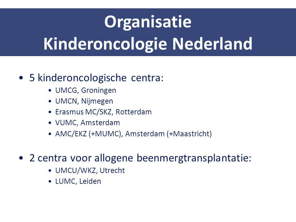 5 kinderoncologische centra: UMCG, Groningen UMCN, Nijmegen Erasmus MC/SKZ, Rotterdam VUMC, Amsterdam AMC/EKZ (+MUMC), Amsterdam (+Maastricht) 2 centr