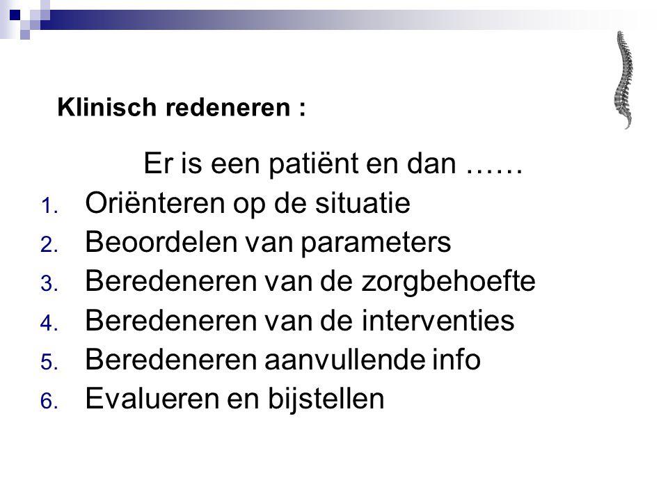 Er is een patiënt en dan …… 1.Oriënteren op de situatie 2.
