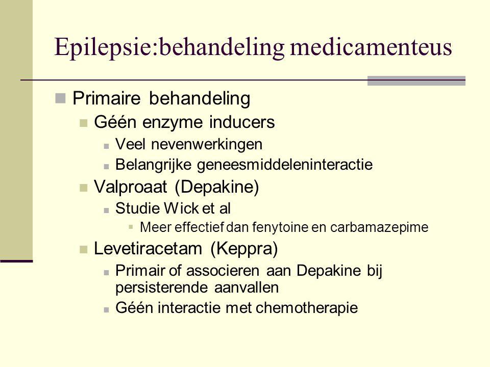 Epilepsie:behandeling medicamenteus Primaire behandeling Géén enzyme inducers Veel nevenwerkingen Belangrijke geneesmiddeleninteractie Valproaat (Depakine) Studie Wick et al  Meer effectief dan fenytoine en carbamazepime Levetiracetam (Keppra) Primair of associeren aan Depakine bij persisterende aanvallen Géén interactie met chemotherapie