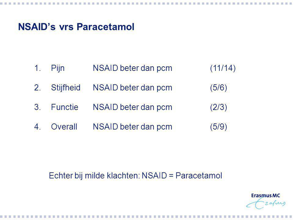 NSAID's vrs Paracetamol 1.PijnNSAID beter dan pcm(11/14) 2.