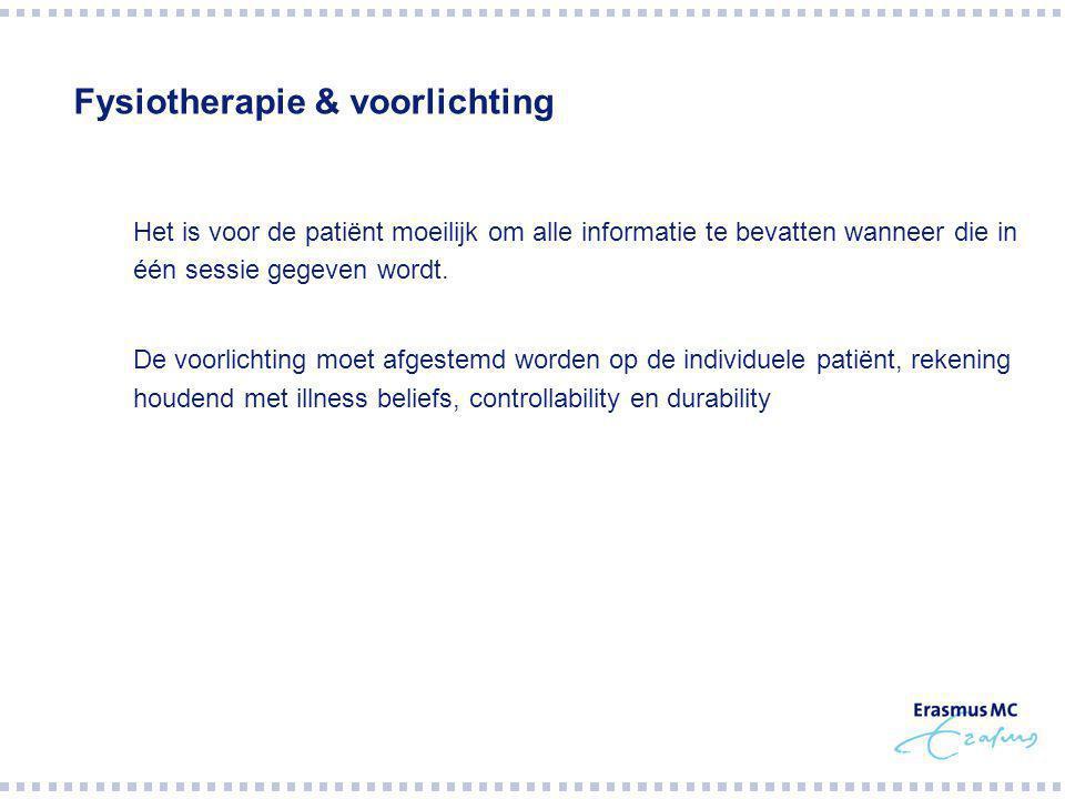 Fysiotherapie & voorlichting  Het is voor de patiënt moeilijk om alle informatie te bevatten wanneer die in één sessie gegeven wordt.