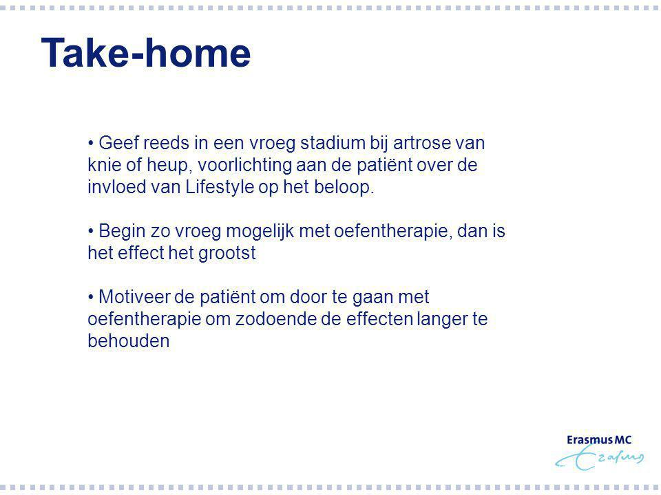 Geef reeds in een vroeg stadium bij artrose van knie of heup, voorlichting aan de patiënt over de invloed van Lifestyle op het beloop.