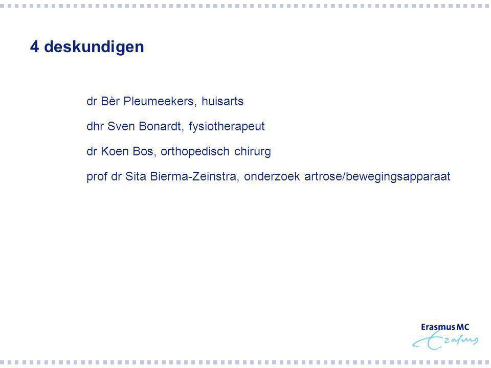 4 deskundigen  dr Bèr Pleumeekers, huisarts  dhr Sven Bonardt, fysiotherapeut  dr Koen Bos, orthopedisch chirurg  prof dr Sita Bierma-Zeinstra, onderzoek artrose/bewegingsapparaat