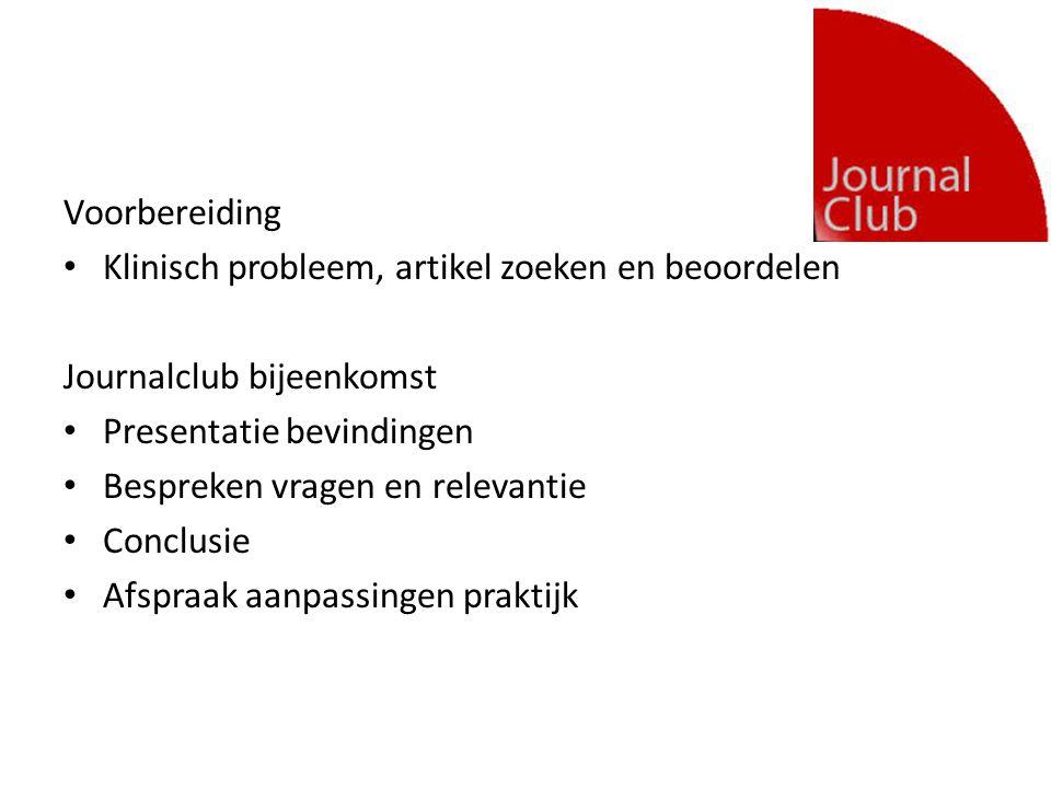 Voorbereiding Klinisch probleem, artikel zoeken en beoordelen Journalclub bijeenkomst Presentatie bevindingen Bespreken vragen en relevantie Conclusie Afspraak aanpassingen praktijk