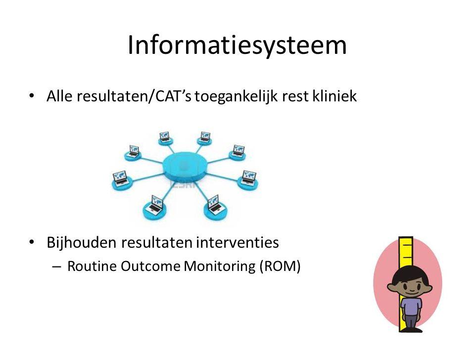 Informatiesysteem Alle resultaten/CAT's toegankelijk rest kliniek Bijhouden resultaten interventies – Routine Outcome Monitoring (ROM)