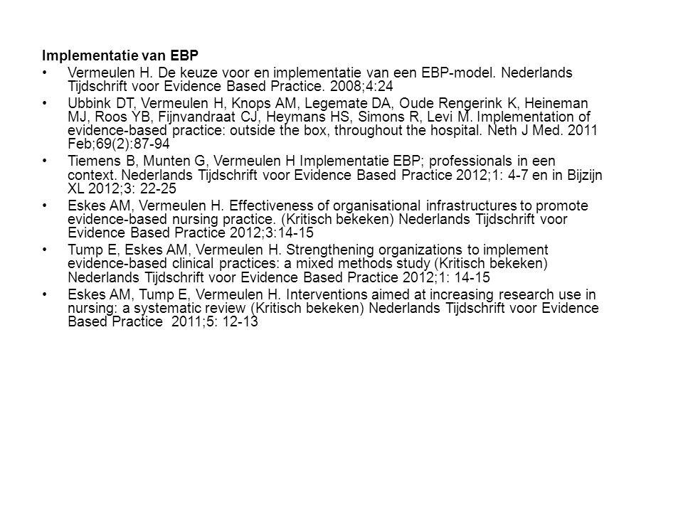Implementatie van EBP Vermeulen H.De keuze voor en implementatie van een EBP-model.