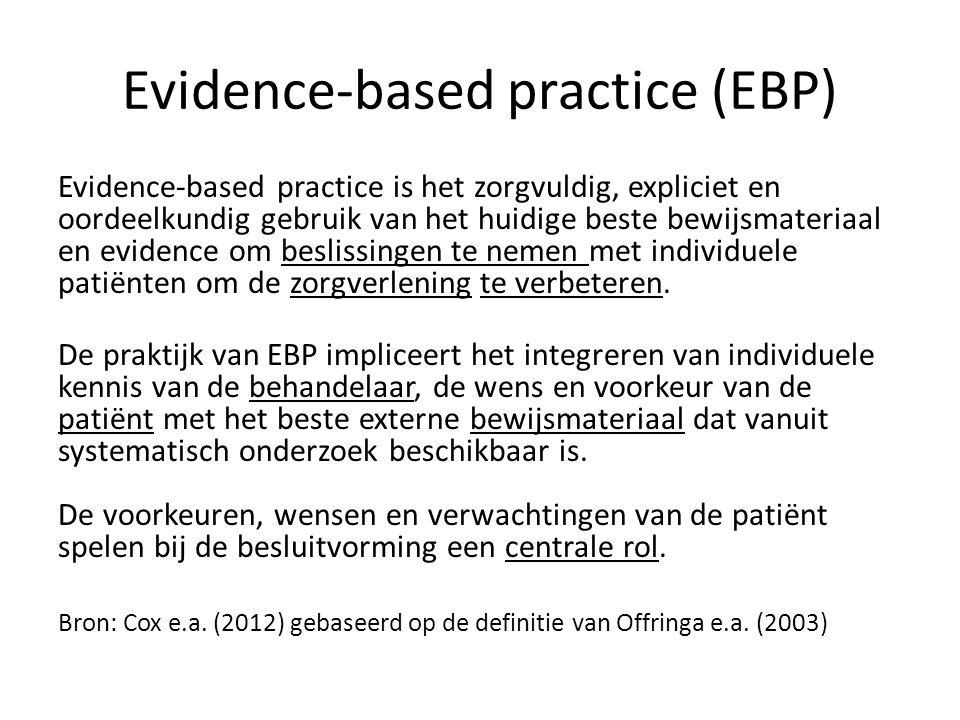 Evidence-based practice (EBP) Evidence-based practice is het zorgvuldig, expliciet en oordeelkundig gebruik van het huidige beste bewijsmateriaal en evidence om beslissingen te nemen met individuele patiënten om de zorgverlening te verbeteren.