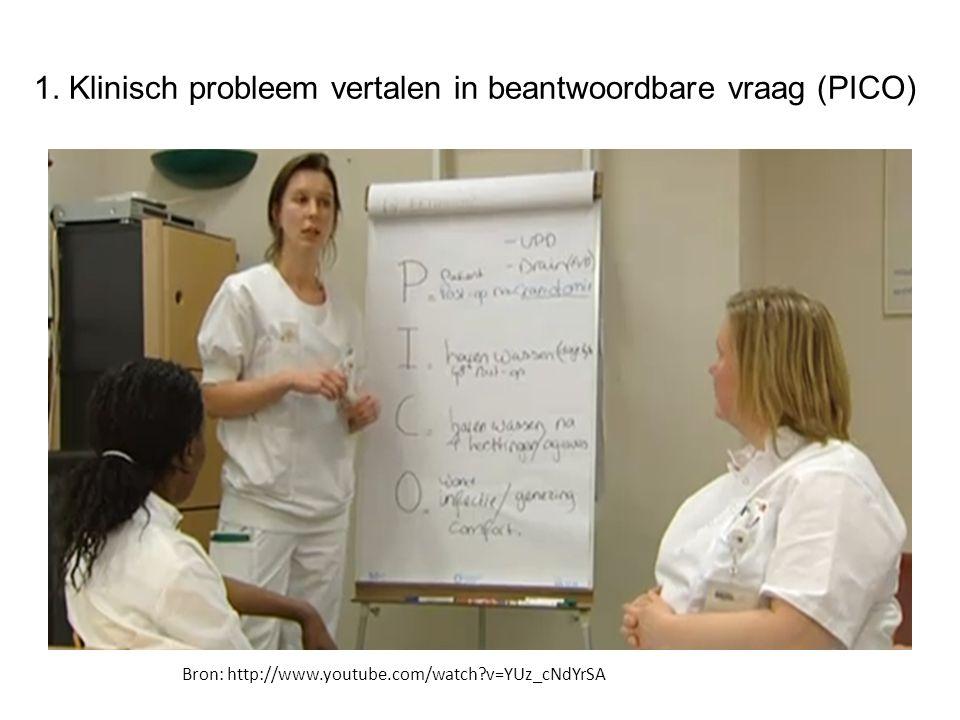 1. Klinisch probleem vertalen in beantwoordbare vraag (PICO) Bron: http://www.youtube.com/watch?v=YUz_cNdYrSA