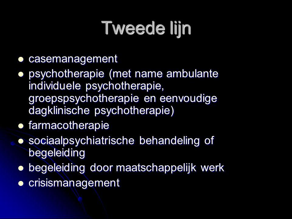 Tweede lijn casemanagement casemanagement psychotherapie (met name ambulante individuele psychotherapie, groepspsychotherapie en eenvoudige dagklinisc