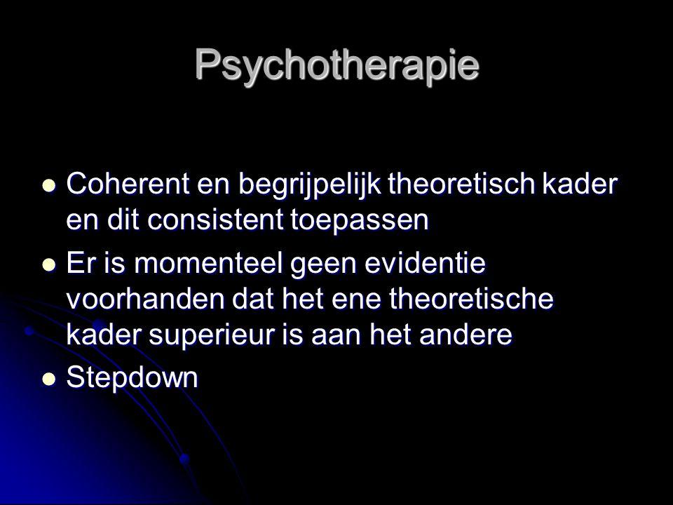 Psychotherapie Coherent en begrijpelijk theoretisch kader en dit consistent toepassen Coherent en begrijpelijk theoretisch kader en dit consistent toe