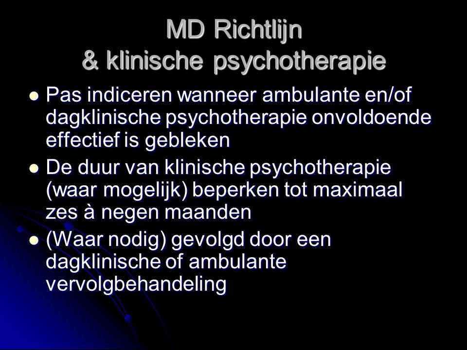 MD Richtlijn & klinische psychotherapie Pas indiceren wanneer ambulante en/of dagklinische psychotherapie onvoldoende effectief is gebleken Pas indice