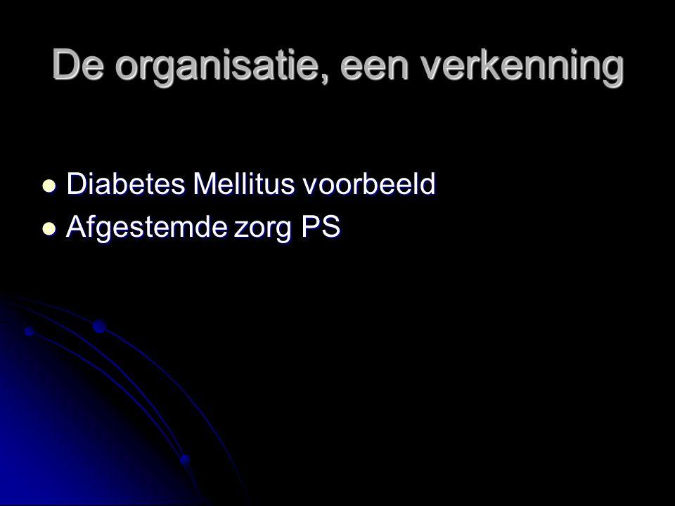De organisatie, een verkenning Diabetes Mellitus voorbeeld Diabetes Mellitus voorbeeld Afgestemde zorg PS Afgestemde zorg PS