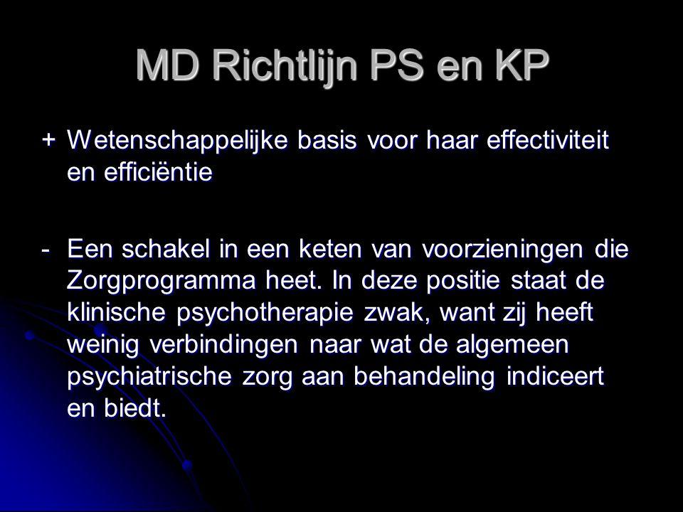 MD Richtlijn PS en KP +Wetenschappelijke basis voor haar effectiviteit en efficiëntie -Een schakel in een keten van voorzieningen die Zorgprogramma he