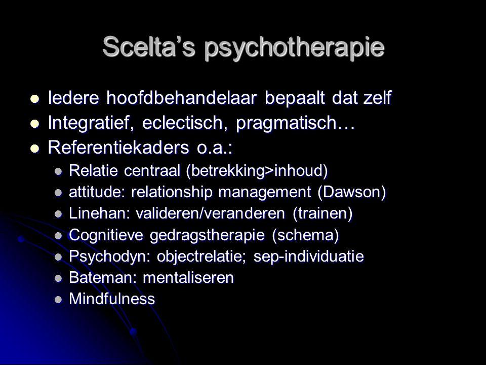 Scelta's psychotherapie Iedere hoofdbehandelaar bepaalt dat zelf Iedere hoofdbehandelaar bepaalt dat zelf Integratief, eclectisch, pragmatisch… Integr