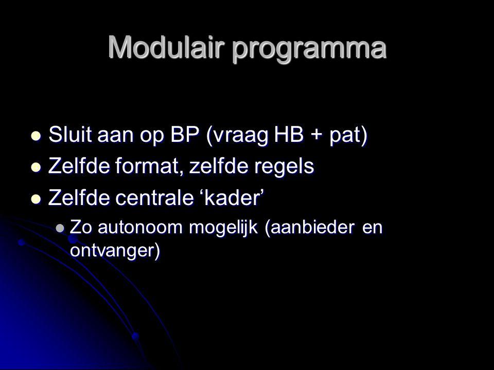 Modulair programma Sluit aan op BP (vraag HB + pat) Sluit aan op BP (vraag HB + pat) Zelfde format, zelfde regels Zelfde format, zelfde regels Zelfde