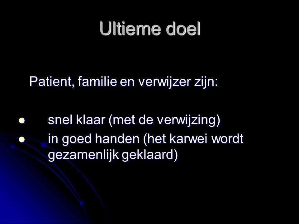 Ultieme doel Patient, familie en verwijzer zijn: snel klaar (met de verwijzing) snel klaar (met de verwijzing) in goed handen (het karwei wordt gezame