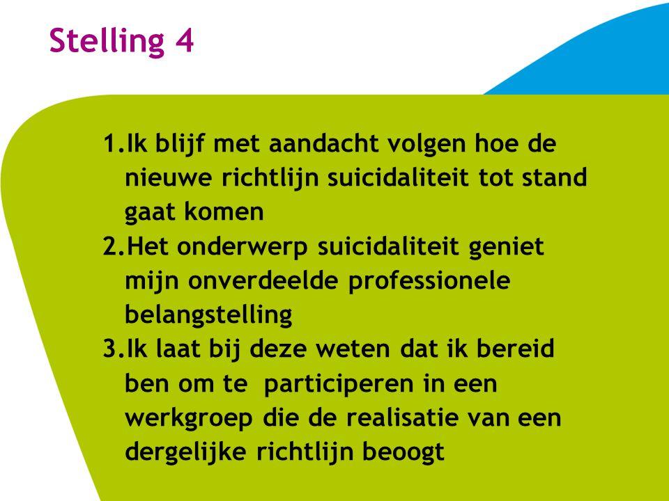 Stelling 4 1.Ik blijf met aandacht volgen hoe de nieuwe richtlijn suicidaliteit tot stand gaat komen 2.Het onderwerp suicidaliteit geniet mijn onverdeelde professionele belangstelling 3.Ik laat bij deze weten dat ik bereid ben om te participeren in een werkgroep die de realisatie van een dergelijke richtlijn beoogt