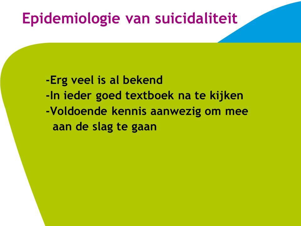 Epidemiologie van suicidaliteit -Erg veel is al bekend -In ieder goed textboek na te kijken -Voldoende kennis aanwezig om mee aan de slag te gaan