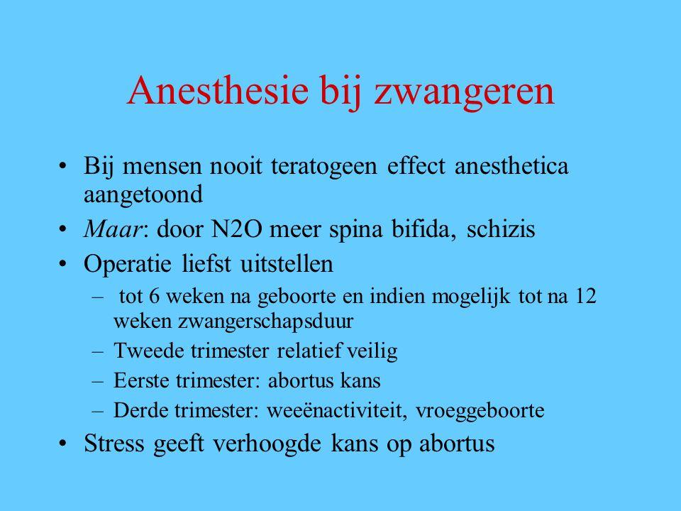 Anesthesie bij zwangeren Bij mensen nooit teratogeen effect anesthetica aangetoond Maar: door N2O meer spina bifida, schizis Operatie liefst uitstelle
