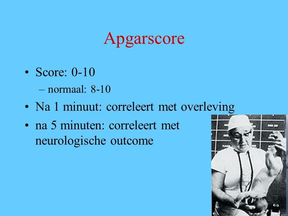 Apgarscore Score: 0-10 –normaal: 8-10 Na 1 minuut: correleert met overleving na 5 minuten: correleert met neurologische outcome