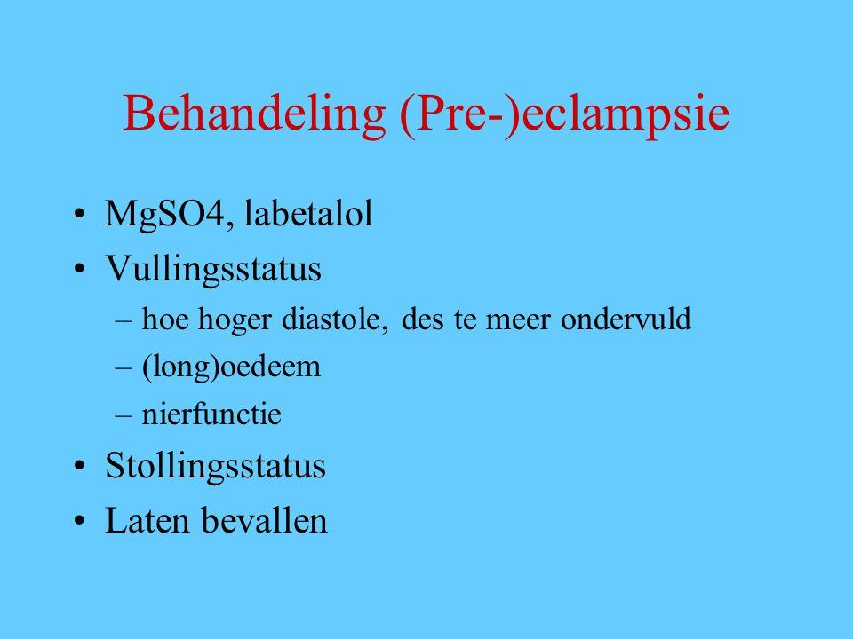 Behandeling (Pre-)eclampsie MgSO4, labetalol Vullingsstatus –hoe hoger diastole, des te meer ondervuld –(long)oedeem –nierfunctie Stollingsstatus Laten bevallen