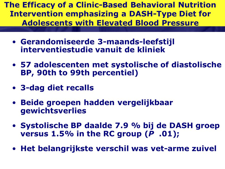 The Efficacy of a Clinic-Based Behavioral Nutrition Intervention emphasizing a DASH-Type Diet for Adolescents with Elevated Blood Pressure Gerandomise