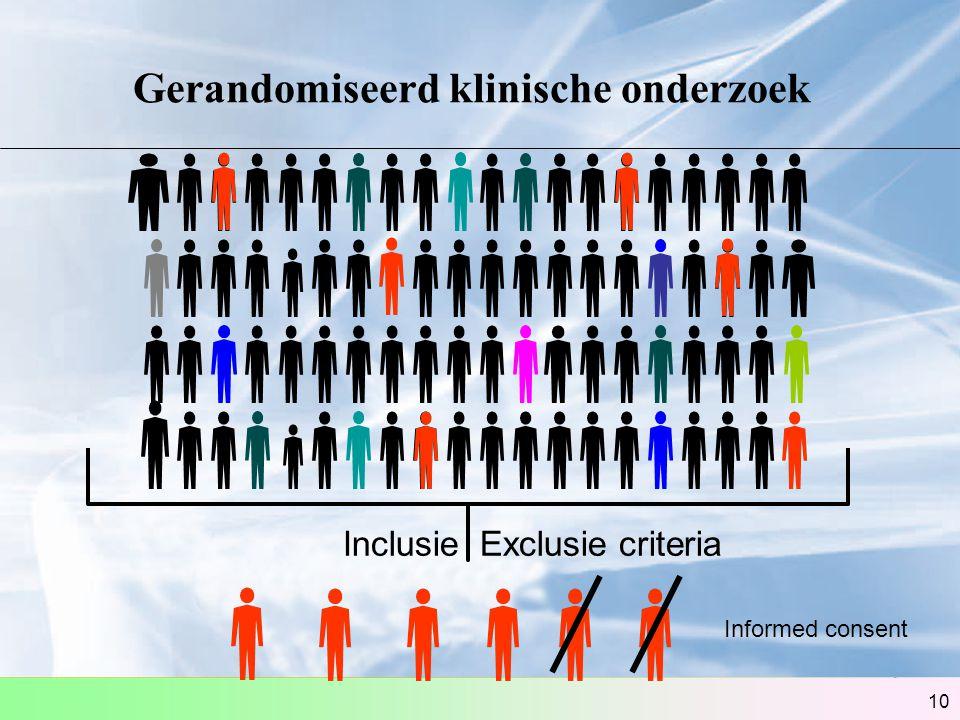 10 Gerandomiseerd klinische onderzoek Inclusie Exclusie criteria Informed consent