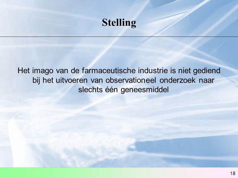 18 Stelling Het imago van de farmaceutische industrie is niet gediend bij het uitvoeren van observationeel onderzoek naar slechts één geneesmiddel