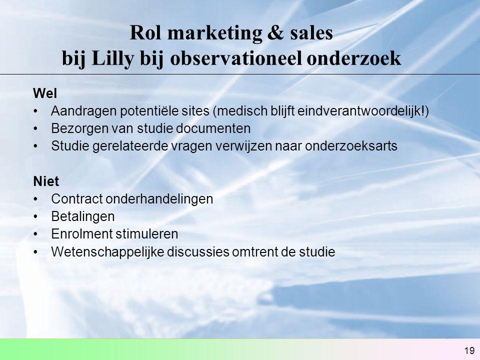 19 Rol marketing & sales bij Lilly bij observationeel onderzoek Wel Aandragen potentiële sites (medisch blijft eindverantwoordelijk!) Bezorgen van stu