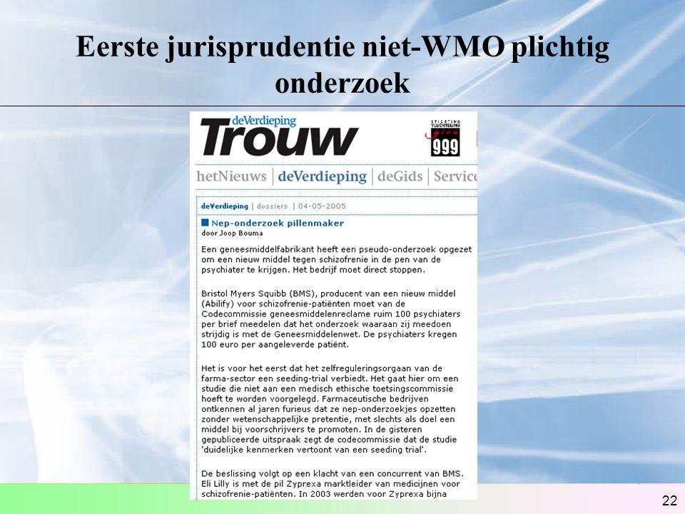 22 Eerste jurisprudentie niet-WMO plichtig onderzoek