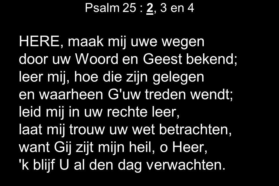 Psalm 25 : 2, 3 en 4 HERE, maak mij uwe wegen door uw Woord en Geest bekend; leer mij, hoe die zijn gelegen en waarheen G uw treden wendt; leid mij in uw rechte leer, laat mij trouw uw wet betrachten, want Gij zijt mijn heil, o Heer, k blijf U al den dag verwachten.