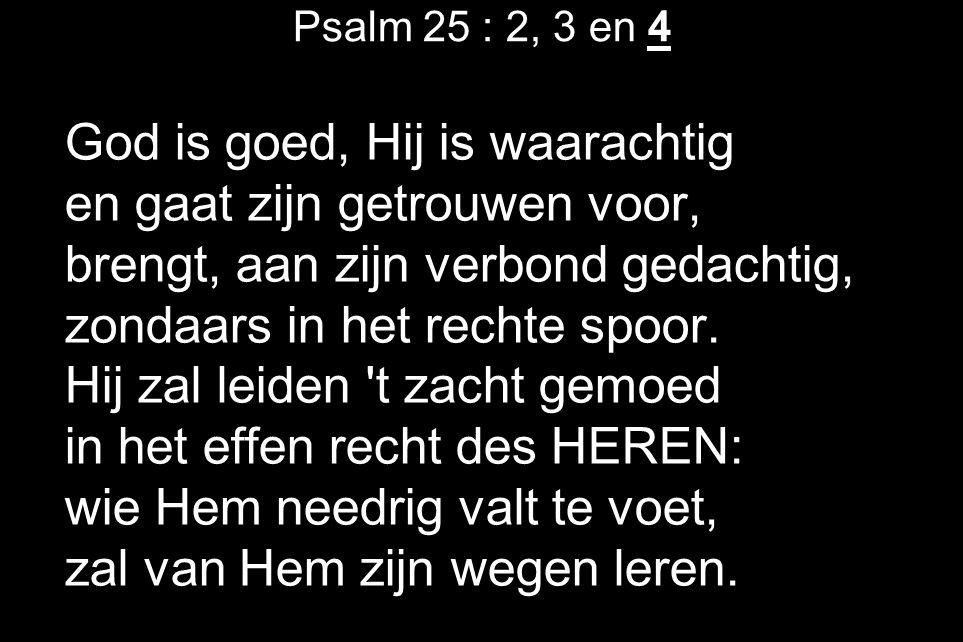 Psalm 25 : 2, 3 en 4 God is goed, Hij is waarachtig en gaat zijn getrouwen voor, brengt, aan zijn verbond gedachtig, zondaars in het rechte spoor. Hij