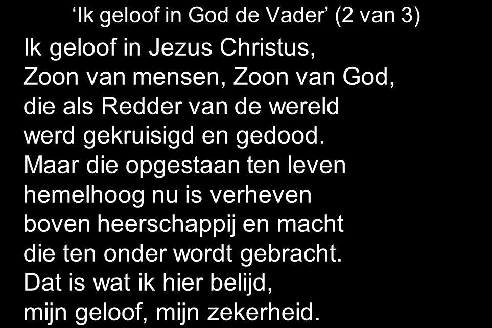 'Ik geloof in God de Vader' (2 van 3) Ik geloof in Jezus Christus, Zoon van mensen, Zoon van God, die als Redder van de wereld werd gekruisigd en gedood.