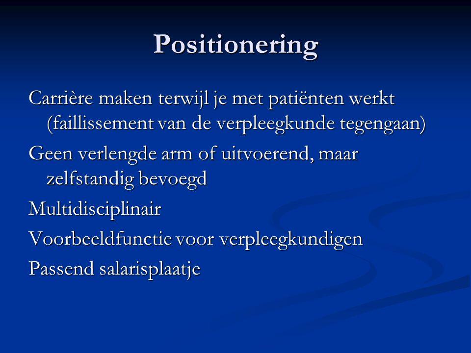 Positionering Carrière maken terwijl je met patiënten werkt (faillissement van de verpleegkunde tegengaan) Geen verlengde arm of uitvoerend, maar zelf