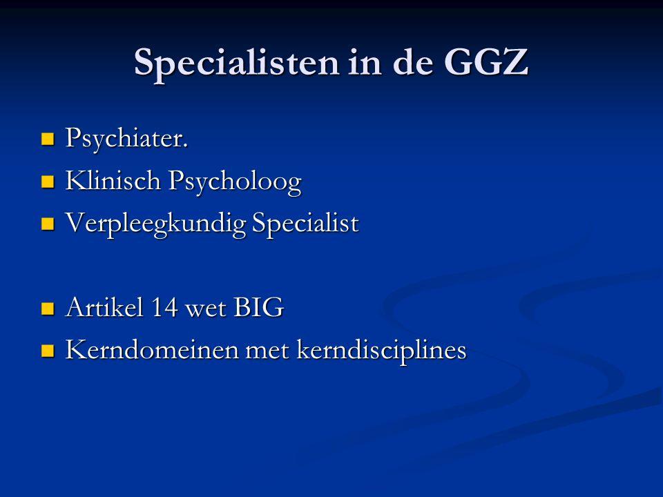 Specialisten in de GGZ Psychiater. Psychiater. Klinisch Psycholoog Klinisch Psycholoog Verpleegkundig Specialist Verpleegkundig Specialist Artikel 14
