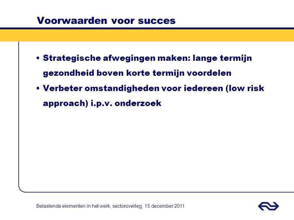 Voorwaarden voor succes Strategische afwegingen maken: lange termijn gezondheid boven korte termijn voordelen Verbeter omstandigheden voor iedereen (l