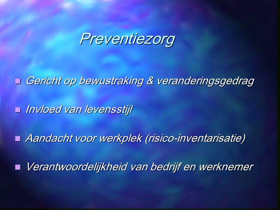 Preventiezorg Gericht op bewustraking & veranderingsgedrag Gericht op bewustraking & veranderingsgedrag Invloed van levensstijl Invloed van levensstij