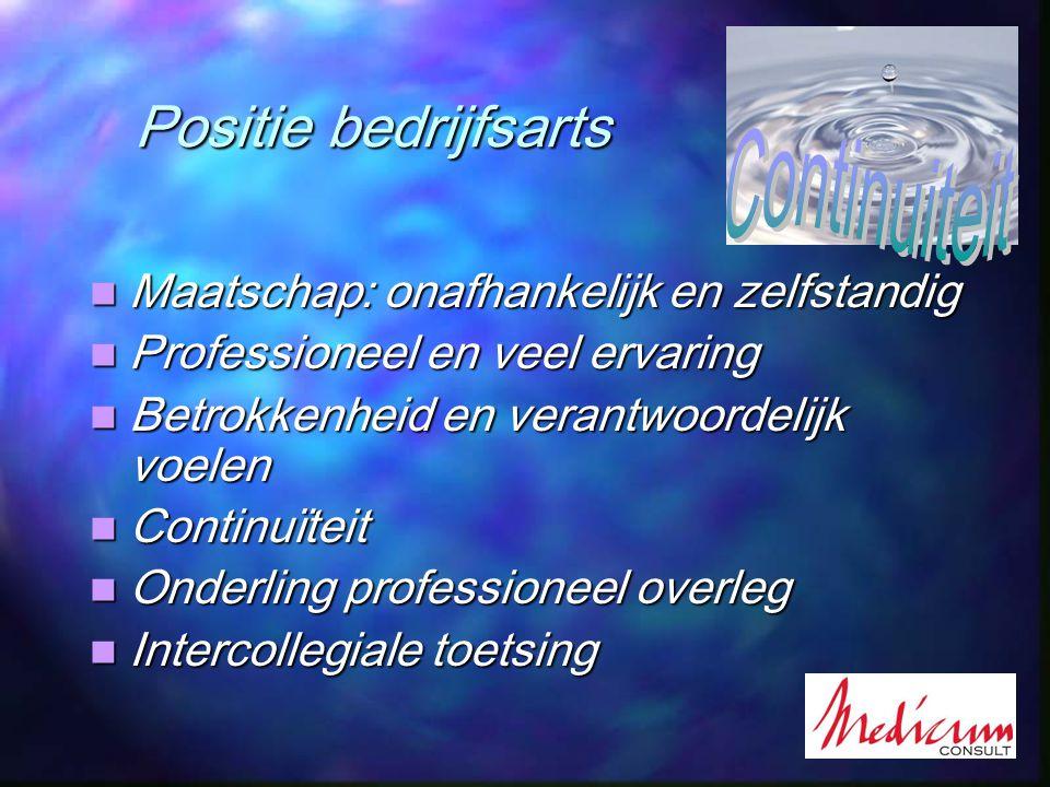 Positie bedrijfsarts Positie bedrijfsarts Maatschap: onafhankelijk en zelfstandig Maatschap: onafhankelijk en zelfstandig Professioneel en veel ervari
