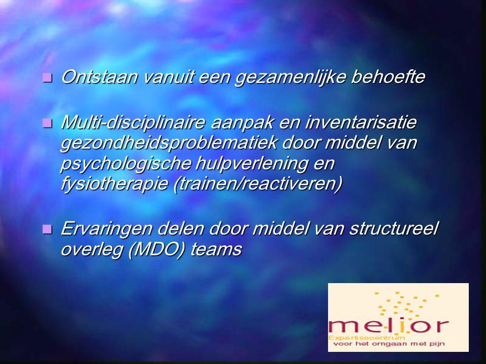 Ontstaan vanuit een gezamenlijke behoefte Ontstaan vanuit een gezamenlijke behoefte Multi-disciplinaire aanpak en inventarisatie gezondheidsproblematiek door middel van psychologische hulpverlening en fysiotherapie (trainen/reactiveren) Multi-disciplinaire aanpak en inventarisatie gezondheidsproblematiek door middel van psychologische hulpverlening en fysiotherapie (trainen/reactiveren) Ervaringen delen door middel van structureel overleg (MDO) teams Ervaringen delen door middel van structureel overleg (MDO) teams