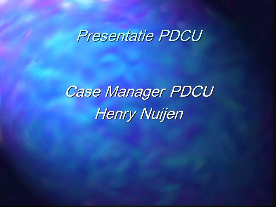 PDCU verzuimmanagement Verzuimprotocol PDCU Verzuimbegeleiding conform WVP Verzuimbegeleiding conform WVP Pro-actieve aanpak vanaf 1 e ziektedag (triage) Pro-actieve aanpak vanaf 1 e ziektedag (triage) Demedicaliseren Demedicaliseren Ondersteunend / uitgevoerd professionals Ondersteunend / uitgevoerd professionals Bewaakt en gecoördineerd door casemanager