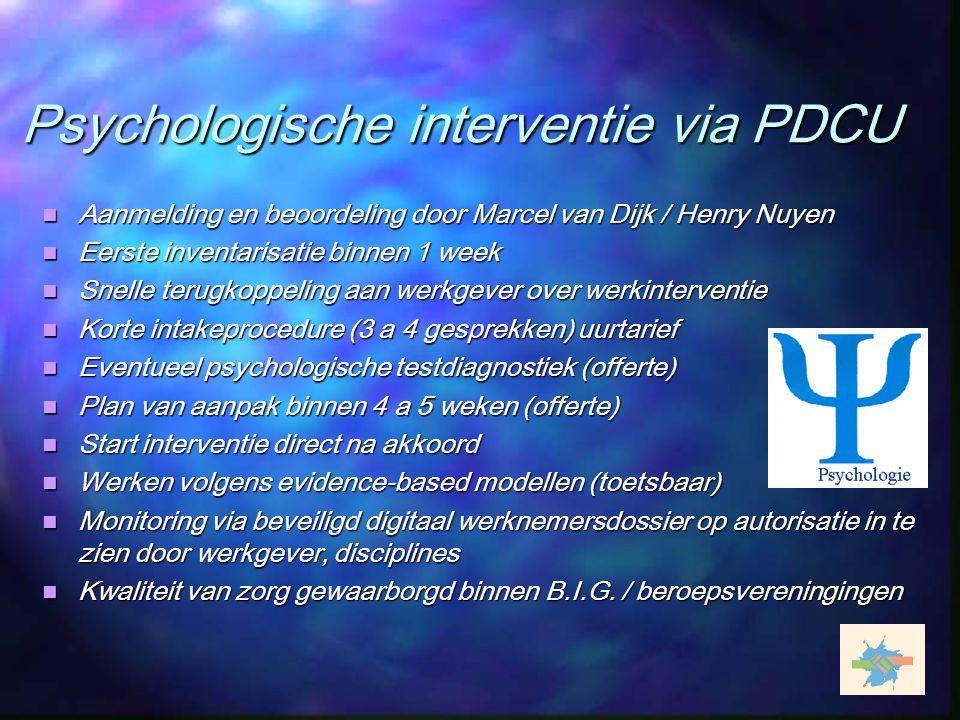 Psychologische interventie via PDCU Aanmelding en beoordeling door Marcel van Dijk / Henry Nuyen Aanmelding en beoordeling door Marcel van Dijk / Henr