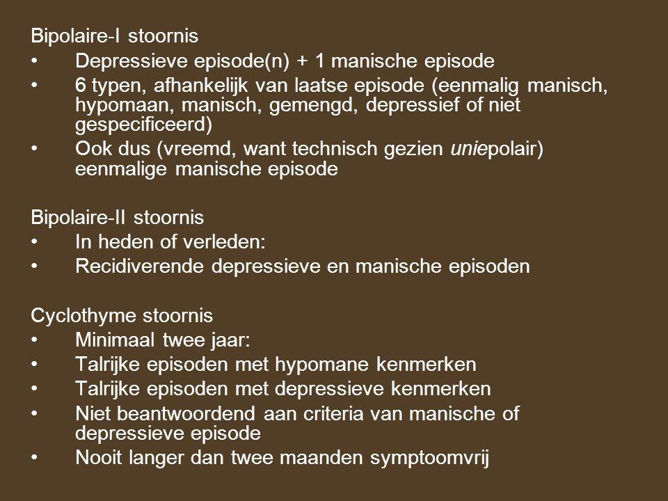 Bipolaire-I stoornis Depressieve episode(n) + 1 manische episode 6 typen, afhankelijk van laatse episode (eenmalig manisch, hypomaan, manisch, gemengd