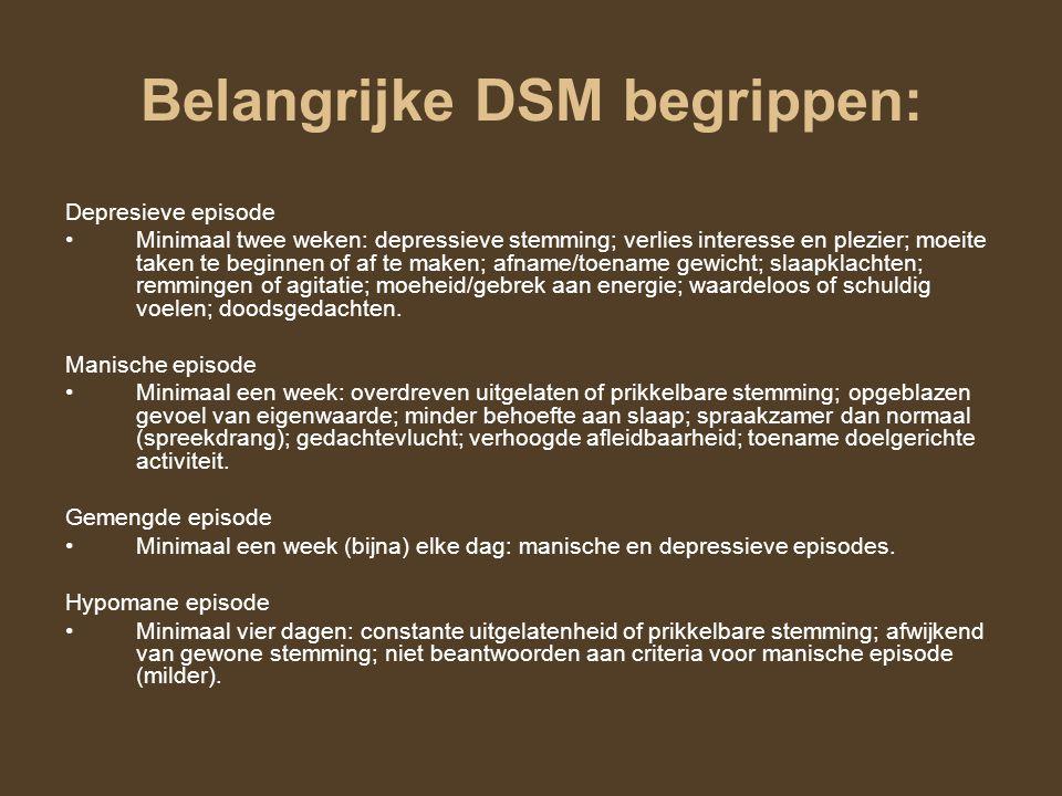 Belangrijke DSM begrippen: Depresieve episode Minimaal twee weken: depressieve stemming; verlies interesse en plezier; moeite taken te beginnen of af